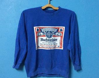 rare!!vintage 90s budweiser sweatshirt big logo size M