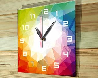 Glass clock, wall glass clock, unique gift, unique wall clock, colorful wall clock, modern clock, unique wall clock, silent clock, G-008