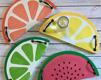 Citrus Serving Trays, Summer Time Trays, Lemonade Trays, Summer Decor, Cookout