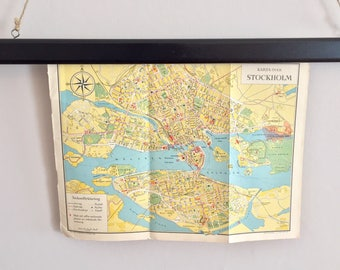 Map over 1930s Stockholm, Sweden for the Stockholm exhibition with program for the exhibition