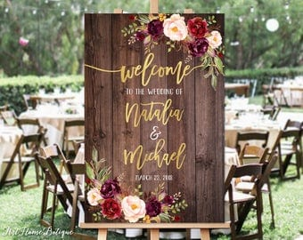 Welcome Wedding Sign, Rustic Welcome Wedding Sign, Welcome To Our Wedding Sign, Wood Gold Burgundy Flowers, Printable Sign, Digital File W85