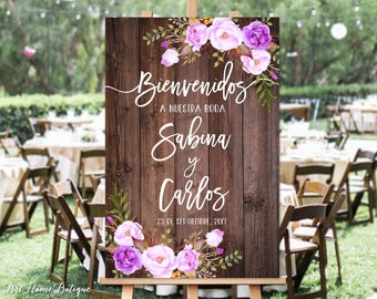 Bienvenidos a Nuestra Boda, Welcome Wedding Sign, Rustic Welcome Wedding Sign, Wood and Purple Flowers, Spanish Sign, Digital File, W94