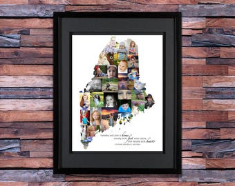 Maine Photo Collage - Maine Art - Maine Gifts - Maine Map - Maine Print - Maine Picture Collage - State of Maine