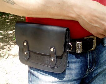 Black waist bag leather Bum Bag Hip belt bag Hipster men leather bag cross body black belt bag waist pack leather belt pouch  festival bag