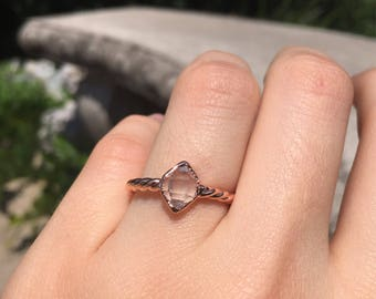 Herkimer Diamond Ring with Spiral Band and opened back // Electroformed Copper Jewelry