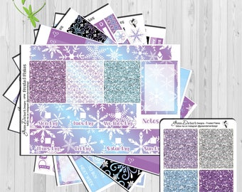Frosted Flakes | Happy Planner Classic | weekly planner sticker kit | Green Darner Designs | Snowflakes