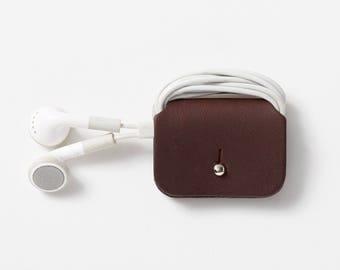 Leather Headphone Keeper   Cable Tidy   Headphone organiser   Headphone wrap - Dark brown