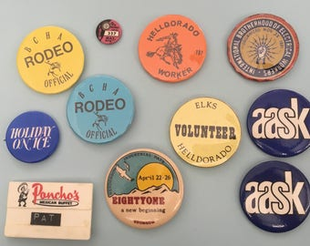 1970's Union Worker and Rodeo Related Vintage Pins and Name Tag