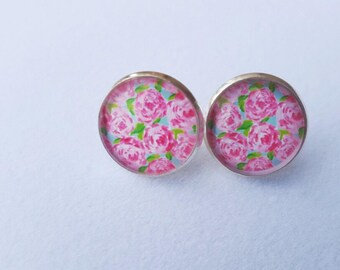 Lilly Pulitzer Inspired Stud Earrings
