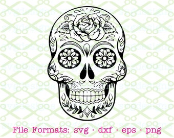 SUGAR SKULL SVG, Dxf, Eps & Png. Digital Cut Files for Cricut, Silhouette; Sugar Skull, Day of the Dead,Mexico, Skull Tattoo, Halloween Mask