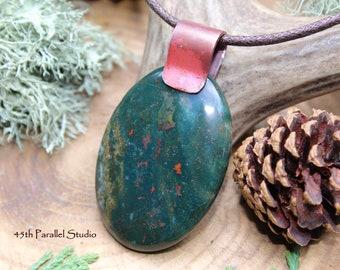 Bloodstone Necklace, Bloodstone Pendant, Bloodstone Jewelry, Bloodstone, March Birthstone, Birthstone Necklace, Birthstone Jewelry, Stone