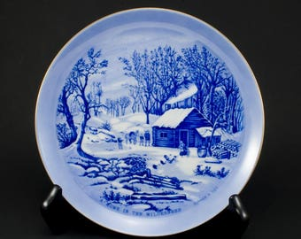 Currier and Ives Souvenir Plate Home in the Wilderness Made in Japan