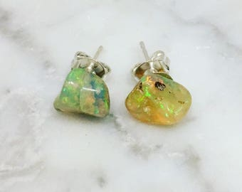 Opal Stud Earrings • Ethiopian Opal • Opal Studs • October Birthstone • Ethiopian Opal Earrings