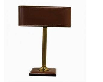 Faux leather and brass table lamp in the style of Adnet - french table lamp - antique table lamp - regency table lamp - jacques adnet lamp