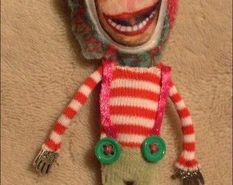 Mini puppet / doll - brooch bright colors
