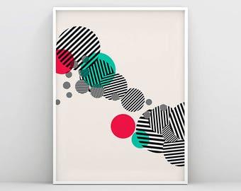 Red Green Circle Prints, Scandinavian Wall Art, Striped Circle, Circle Wall Art, Geometric Print, Abstract Poster, Minimalist Poster, Nordic