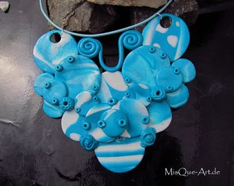 Statement necklace turquoise and white