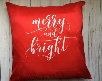 Merry and Bright Red Christmas Throw Pillow Cover, Christmas Throw Pillow Cover, Red Christmas Throw Pillow, Christmas Throw Pillow