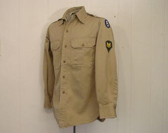 Vintage shirt, military shirt, US Army shirt, shoulder patches, vintage clothing, small