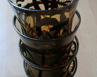 Four gorgeous patterned shot glasses