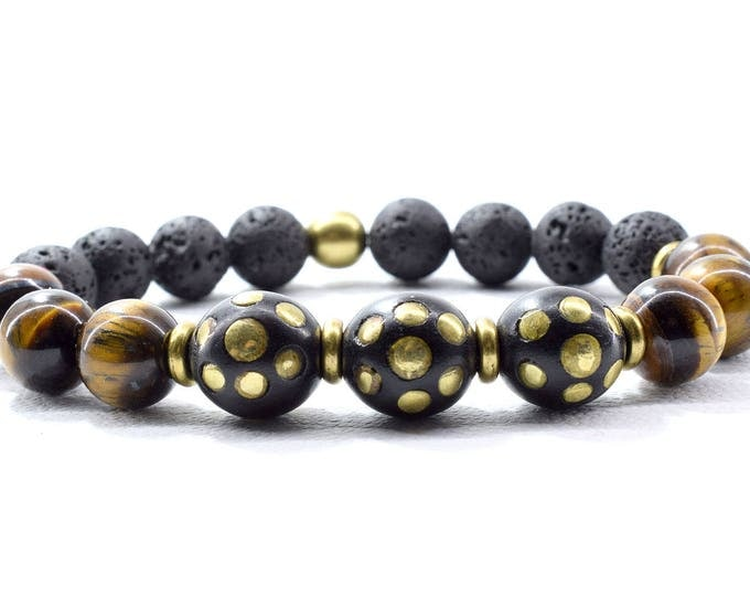 Mens Bracelet, featuring Black Cook Wood Beads with Bronze tone Inlays, Tiger Eye & Lava Stone Beads.