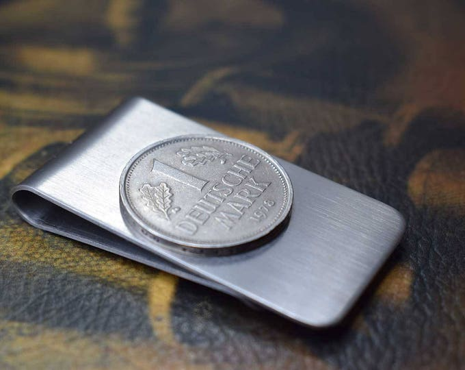 Germany, 1 Mark Coin, Money Clip, Select Year, German Coin, Men's Wallet, Anniversary Gift, Birthday Gift, Germany Coin Money Clip, Wallet