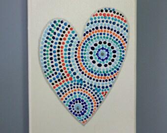 Blue Heart Dots Original Dot Art Painting - 5 x 7 inch canvas