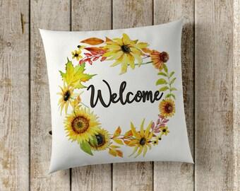 Welcome Pillow Cover, Sunflower Pillow Cover, Fall Pillow Cover, Farmhouse Pillow Cover, Farmhouse Decor, Fall Decor, Home Decor