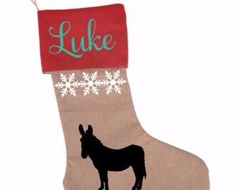 Donkey Stocking, Donkeys, Mules, Christmas Donkey, Stocking, Western Donkey, Western Christmas, Donkey Lover, Donkey Gift, Donkey Christmas