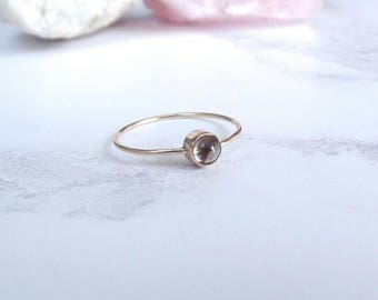 Smokey Quartz Ring - Gold Filled - Dainty Ring - Gold Stacking Ring - Thin Gold Band - Gold Quartz Ring - Bridesmaid Gift - Gift for Her