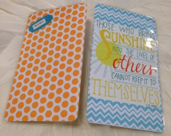 "PERSONAL size Travelers Notebook Wrap Around DASHBOARD with ""Those Who Bring SUNSHINE into the Lives of others Cannot Keep it to Themselves"""