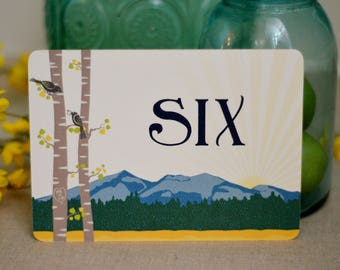 Table Numbers / Place Cards for Wedding Reception 5x7 // Spring Rocky Mountain Landscape with Birch Trees // BP1