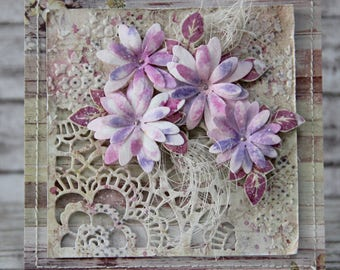 Romantic card with hand made flowers