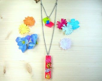 """Two chain necklace """"Princess"""" resin"""