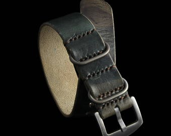 Handmade Military 107 Leather ZULU Strap, Style II, Italian Veg Tanned