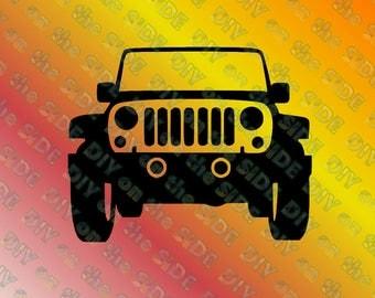 SVG Cut File Jeep front JK Instant Download