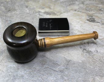Honeypot style Smoking Pipe in Chacate Preto and Beli Hardwood with Amethyst Gemstone Inaly - TSG PB16 - Free Accessories and FREE SHIPPING