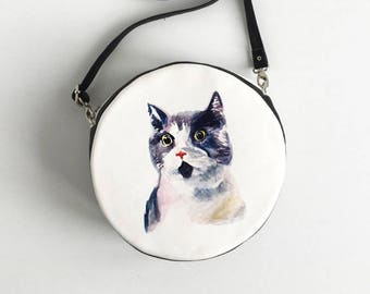 Cat Portrait Purse Acuarel Cat Bag