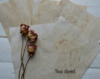 Set of 10 coffee or  tea stained print paper vintage style paper  grungy looking paper stained paper scrapbooking paper.