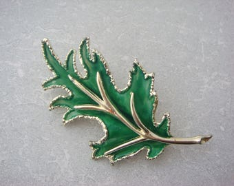 Exquisite Green Enamel Leaf Brooch