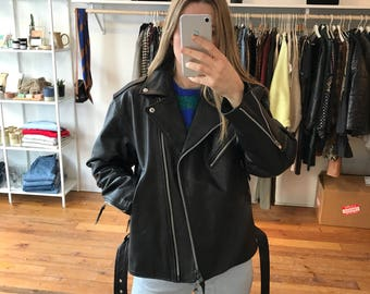Vintage Leather Motorcycle Jacket w/ Quileted Interior