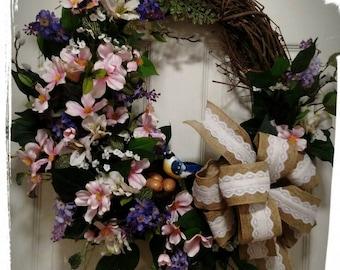 Spring Wreath, Easter Wreath, Summer Wreath, Front door Wreath, Floral Wreath, Cherry Blossom Wreath, Lilac Wreath