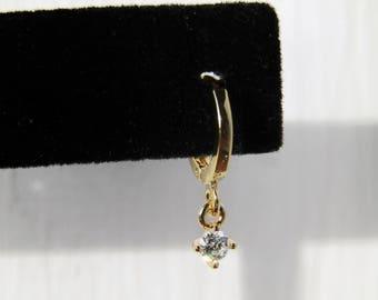 Cz dangle drop huggie hoops, hoop earrings, gold hoops,