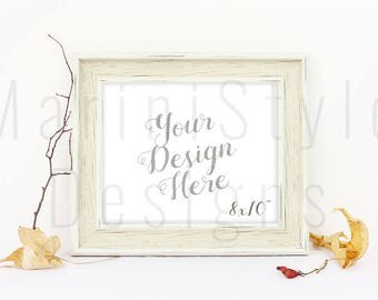 Minimalistic 8x10 empty frame Mockup, Horizontal Frame Mock up, Rustic frame, Autumn Styled Stock Photography, Stock image, Stock Photo, 652