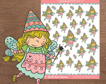 Let's Be Fairies Gnaomi, Gnaomi the Gnome, Gnome Stickers, Planner Stickers, Hand Drawn Stickers, Planner Girl, Bullet Journal, Fairy