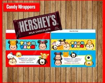 Tsum Tsum candy wrappers, Printable Tsum Tsum wrappers, Tsum Tsum party candy wrappers Instant download