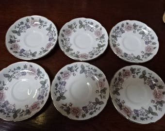 Very Pretty Royal Grafton China/Saucers x 6/Fragrance/Fine Bone China/Vintage/1950s/1960s