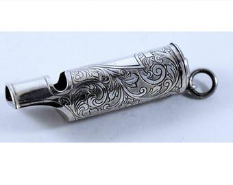 SALE!!  Sterling Whistle Art Nouveau Match Safe   323