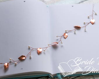 Delicate wedding hair jewelry, pearls and leaves bridal wreath, bridal hair vine in rose gold
