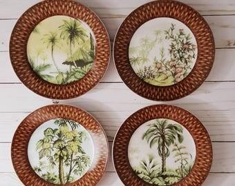 Vintage I. Godinger & Co Tropical Island Splendor Plates Set of 4 Salad, Dessert, Appetizer Palm Tree Decor